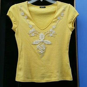 Yellow beaded sequined top